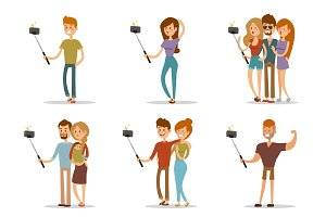 Selfie shots family vector