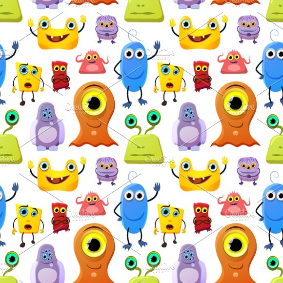 Crowd of cute monsters on white