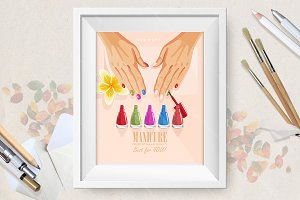 Vector manicure procedure poster