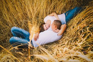 Loving couple in the rye field