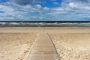 Wooden walkway. Baltic beach