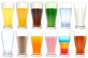 Set of glasses with drinks