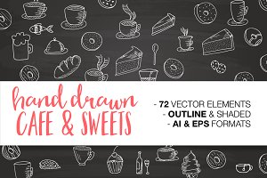 Hand drawn CAFE & SWEETS