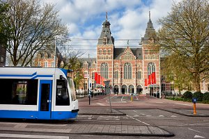 Rijksmuseum and Tram in Amsterdam