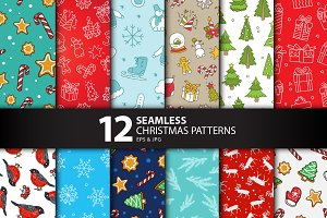 12 Seamless Christmas Patterns