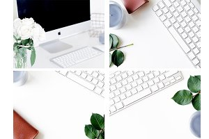 9 Femine Desk Styled Stock Photos