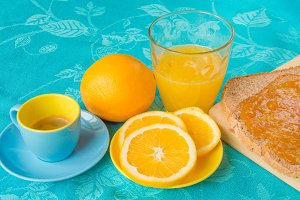 Healthy breakfast with orange juice