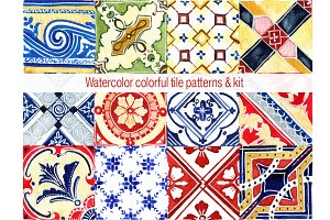 Watercolor tile patterns
