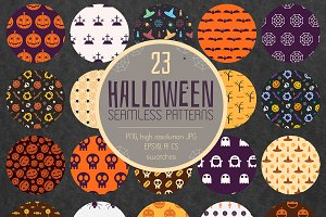 23 Halloween Seamless Patterns Pack