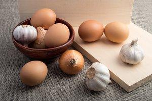 Raw eggs, onions and garlic