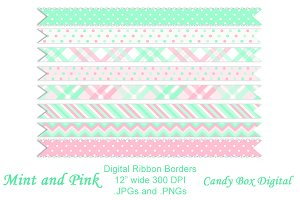 Mint and Pink Digital Ribbons