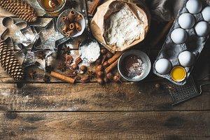 Christmas holiday baking ingredients