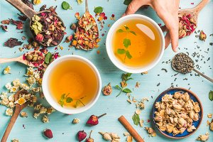 Two cups of healthy herbal tea