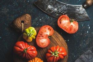 Fresh colorful heirloom tomatoes