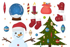 Christmas icon holiday vector set