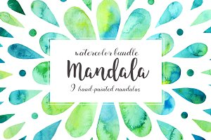 Mandalas watercolor bundle