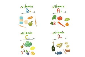 Group vitamins B, A, C, D,hand drawn