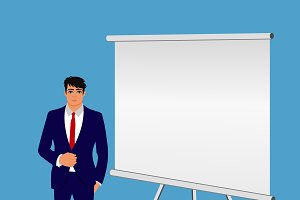 man with presentation board