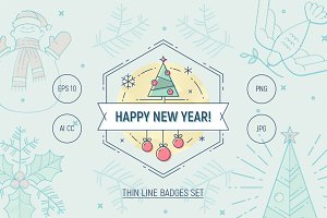 New Year thin line vector badges set