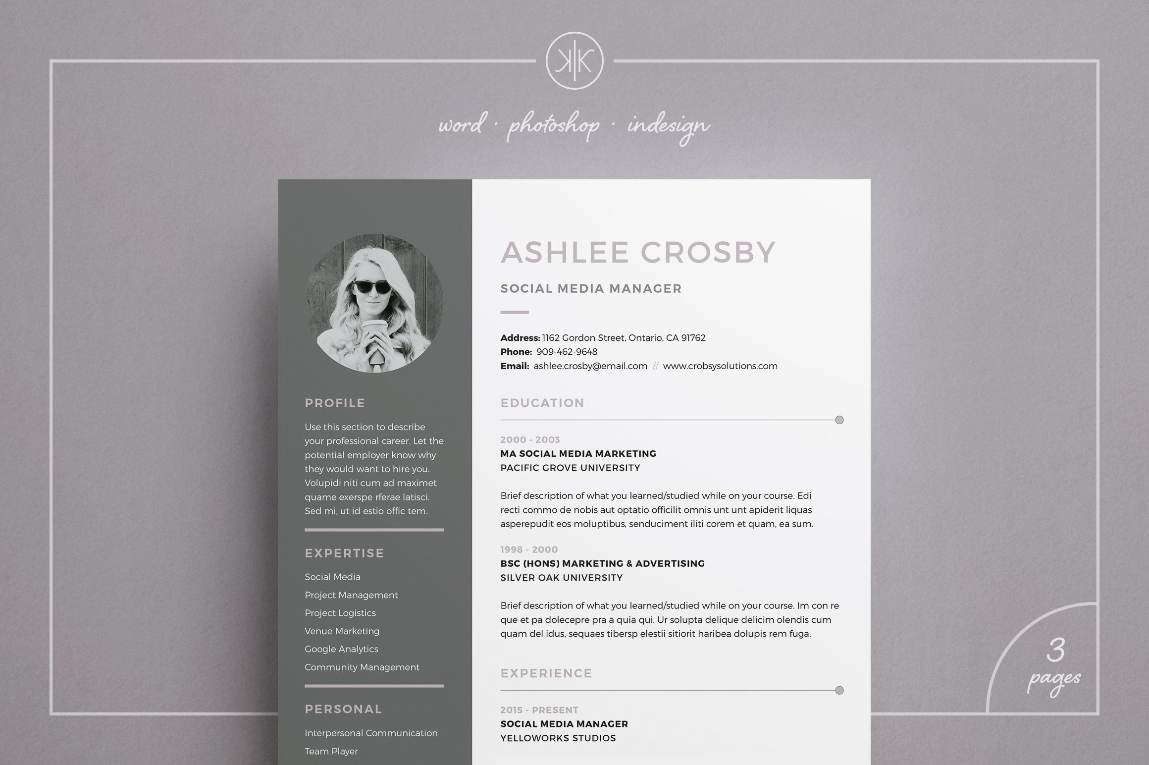 Resume/CV | Ashlee ~ Resume Templates ~ Creative Market