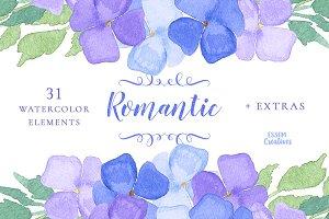 Watercolor Hydrangeas Clipart SET