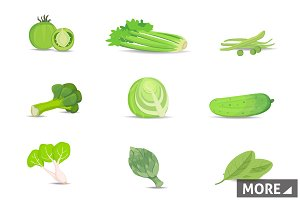 Set green vegetables