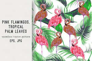 Pink flamingos,leaves pattern