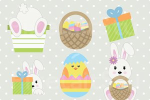 Bunny and Chicks Clip Art