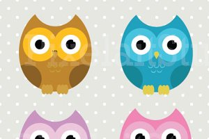 Autumn Owls Clip Art