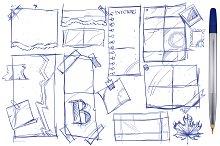 Notes, paper, hand drawing mockups