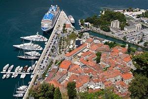 Top view on town Kotor, Montenegro