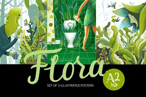 Flora, 3 illustrated posters pack