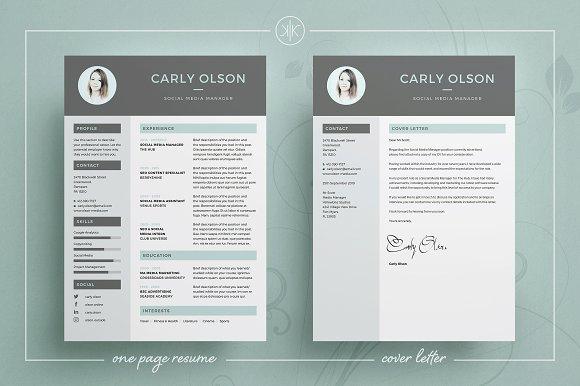 Resume/CV   Carly ~ Resume Templates ~ Creative Market