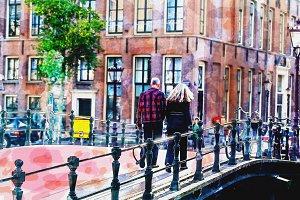 watercolor cityscape of Amsterdam