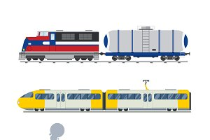 Vintage trains vector collection