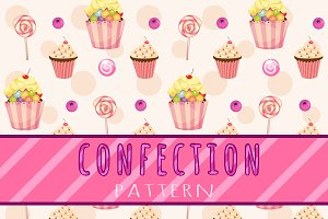 Cakes and candies pattern