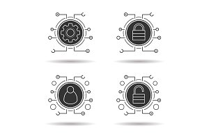 Cyber security. 4 icons set. Vector