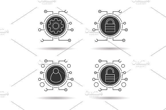 Cyber security. 4 icons set. Vector - Icons