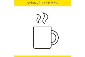 Steaming mug linear icon. Vector