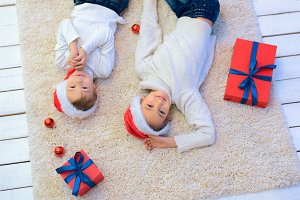Boy and girl in Christmas