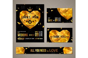 Wedding Cards with Gold Heart