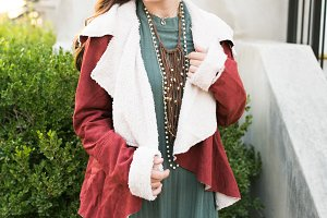 Girl outside Wearing Fur Jacket