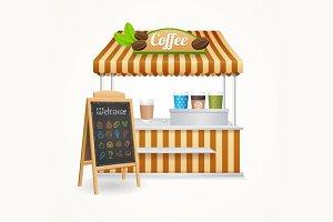 Coffee Street Market Set. Vector