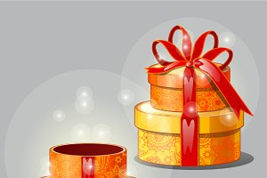 Shining elegant red-yellow gift box
