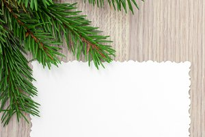 Spruce branches and card