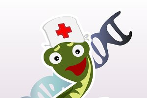Little cartoon doctor snake