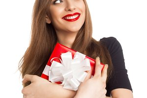 woman holding present