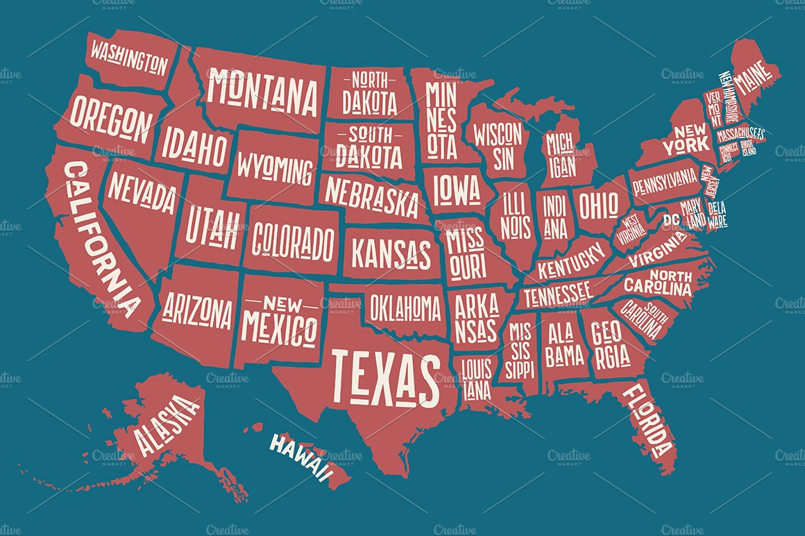 Map of United States of America ~ Illustrations ~ Creative Market
