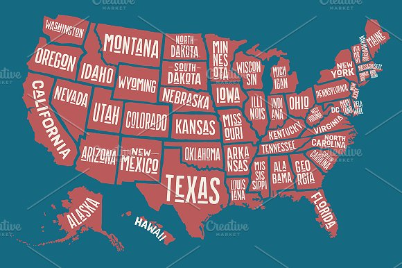 Map Of United States Of America Illustrations Creative Market