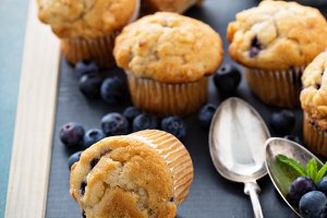 Blueberry muffins on a tray